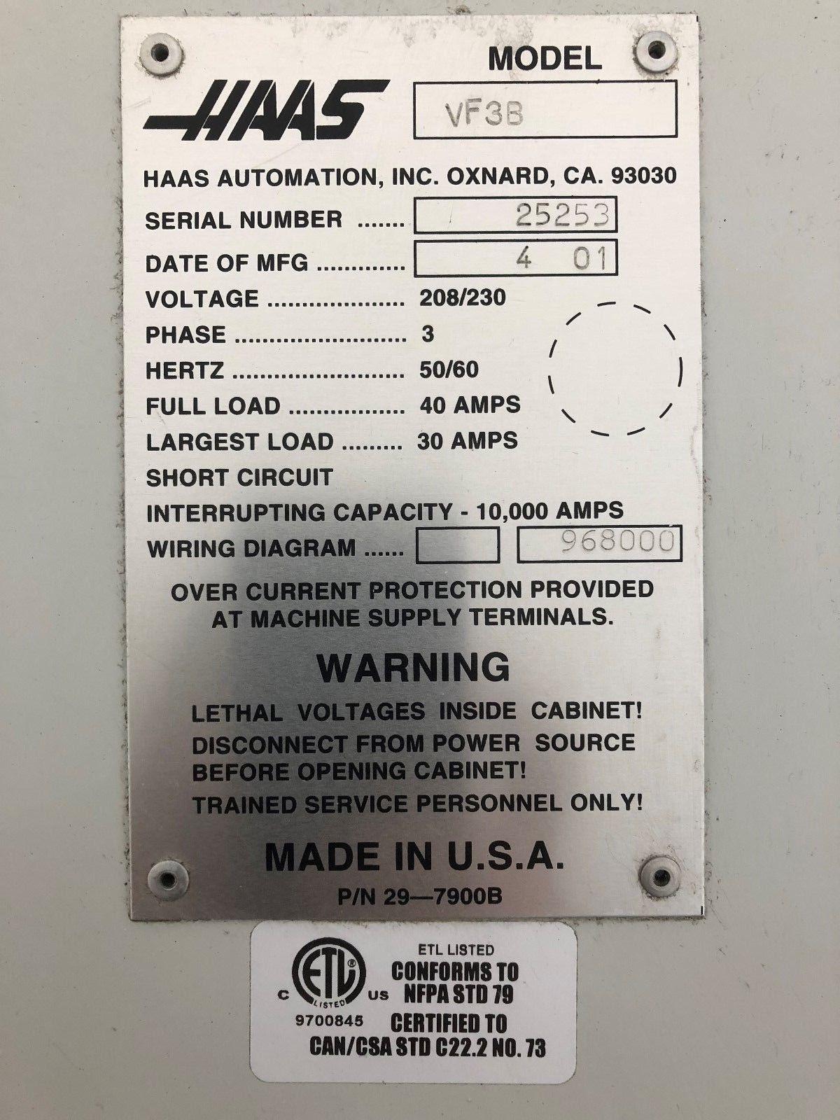 Haas Vf 3b Cnc Vertical Machining Center Machinestation Machine Wiring Diagram Used Vmc For Sale In California Usa J