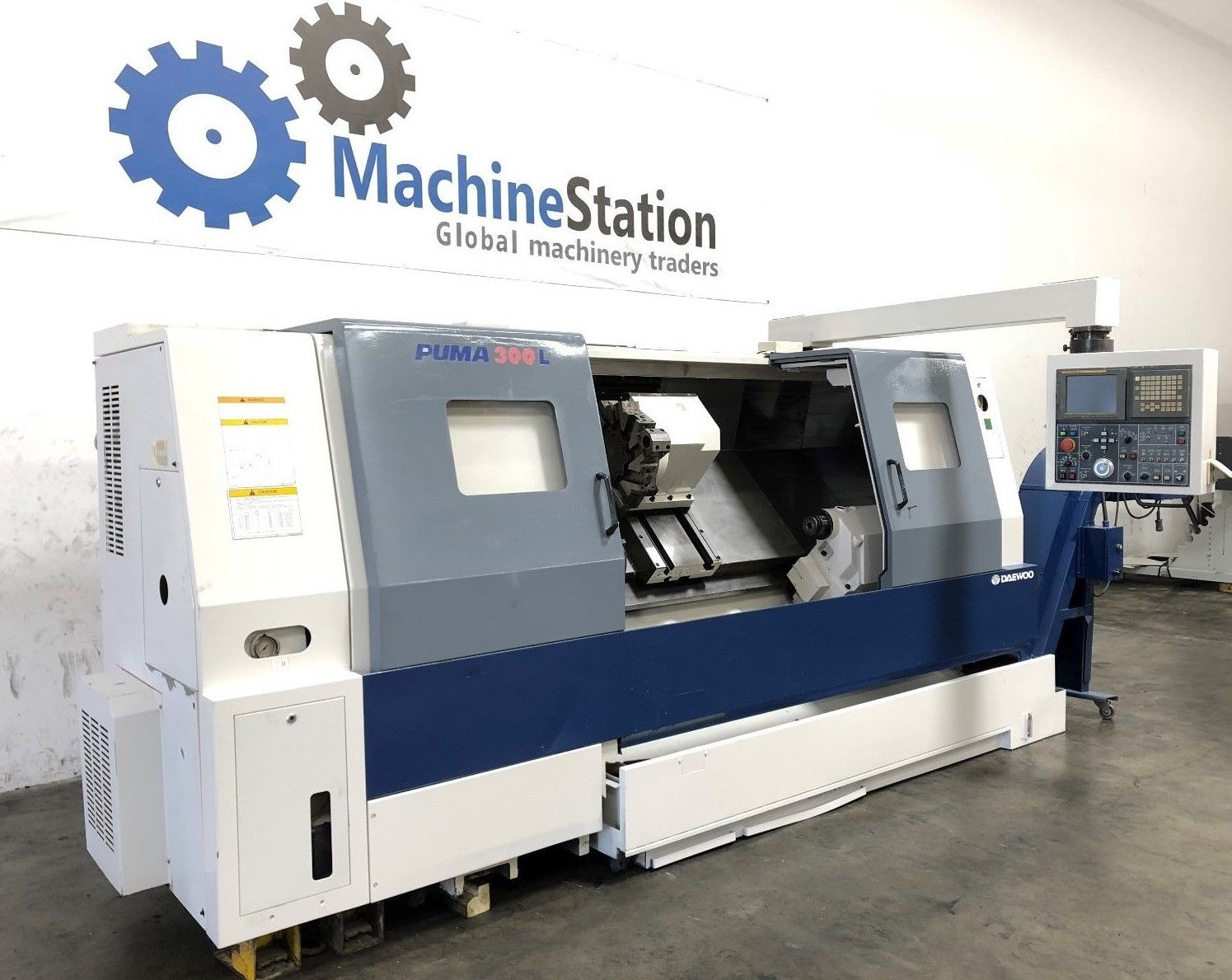 ... Used Daewoo Puma 300LC Long Bed CNC Turning Center c ...
