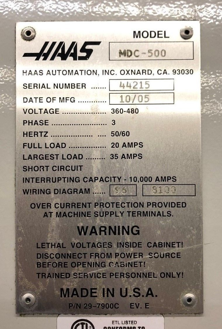 Haas Mdc 500 Mill Drill Tap Vertical Machining Center Machinestation Electrical Circuit Diagram 2 For Sale In California K